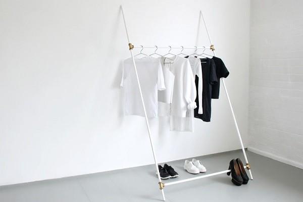 White-plumbing-tube-clothing-rack